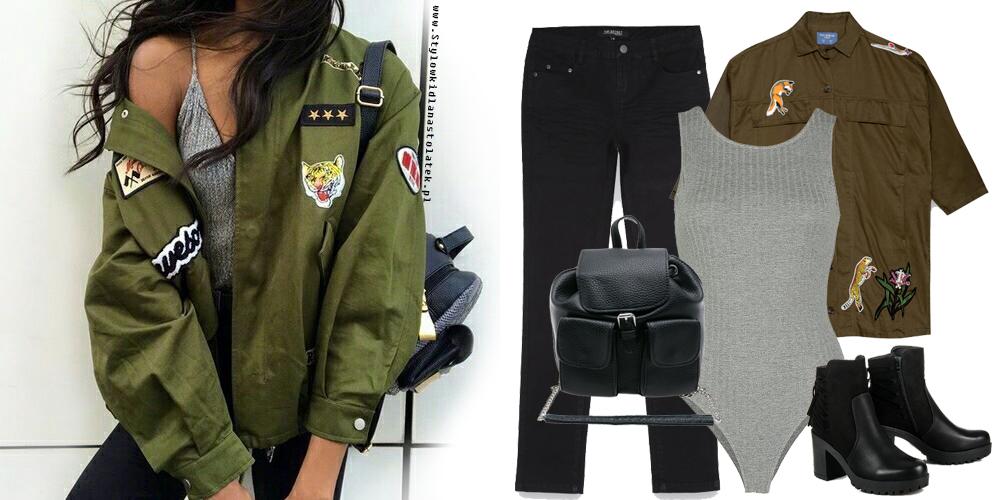 Jesienna stylizacja z militarną kurtką