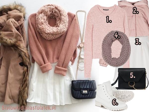 Różowo-biała stylizacja na zimę
