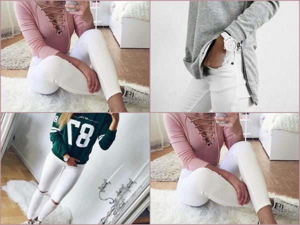 Z czym połączyć białe spodnie?