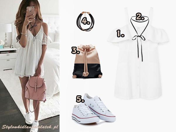 stylizacja z białą sukienką