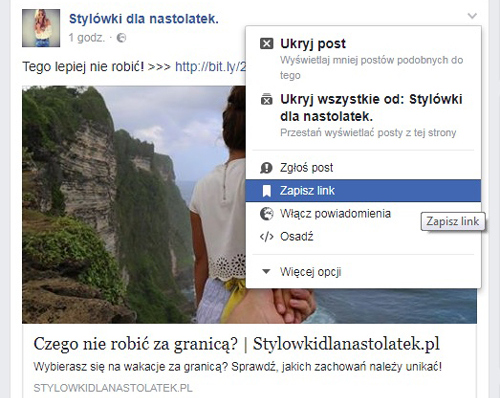 funkcje na facebooku