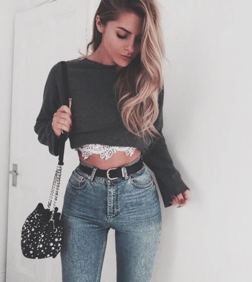 Stylizacje ze spodniami high waist