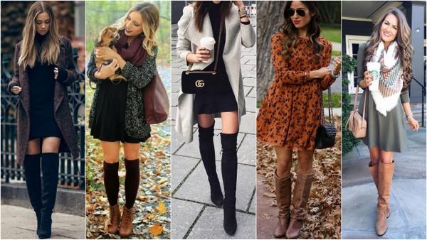 Jesienne stylizacje z sukienką