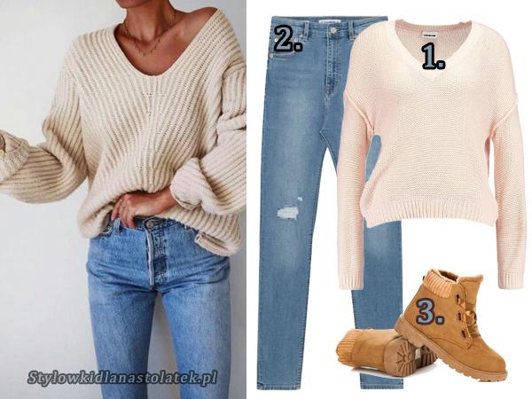 Stylizacja z beżowym swetrem