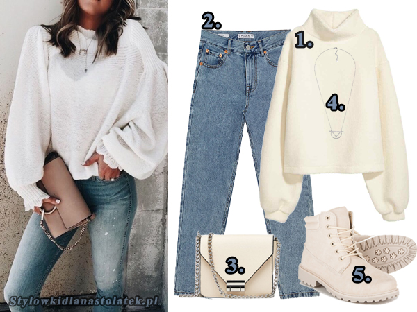 stylizacja z białym sweterem