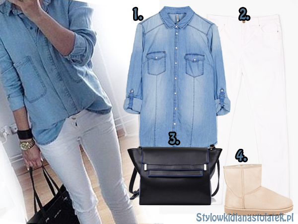 Zimowa stylizacja z jeansową koszulą