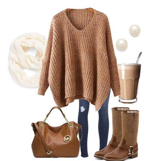 Stylizacja z karmelowym swetrem