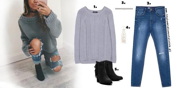 Stylizacja z szarym swetrem