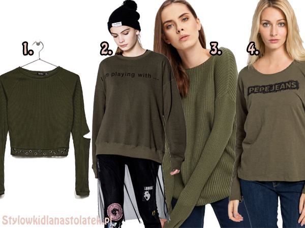 Ubrania w kolorze khaki