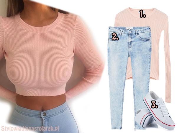 Wiosenna stylizacja z różowym swetrem