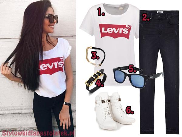 Stylizacja z koszulką Levis