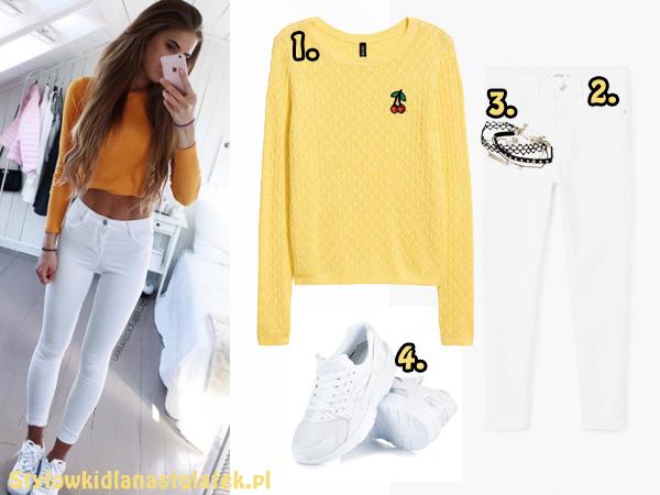 Wiosenna stylizacja z żółtym swetrem