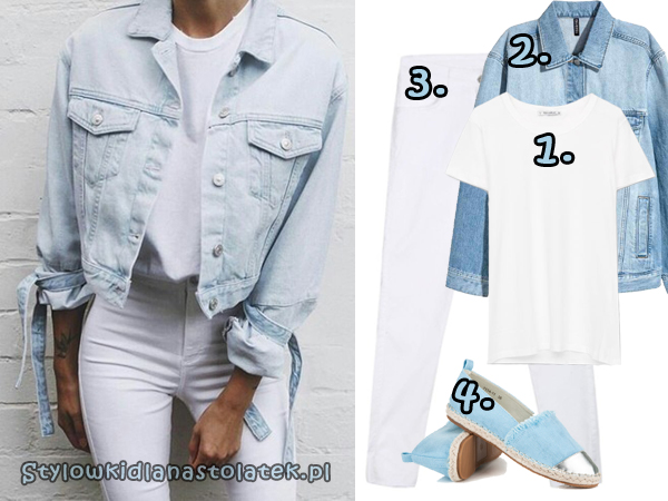 Biała stylówka z jeansową kurtką