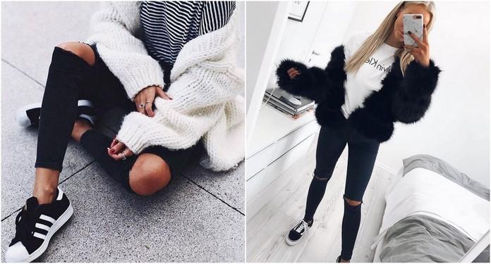 Jesienne stylizacje z dziurawymi spodniami | Stylizacje