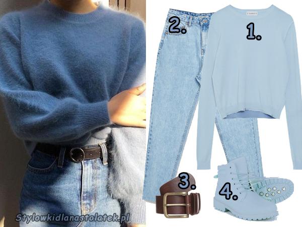 Stylizacja z błękitnym swetrem