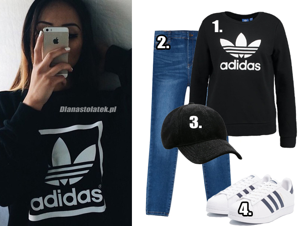 Stylizacja z bluzą Adidas