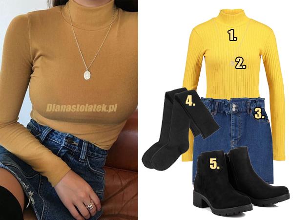 Stylizacja z miodowym swetrem