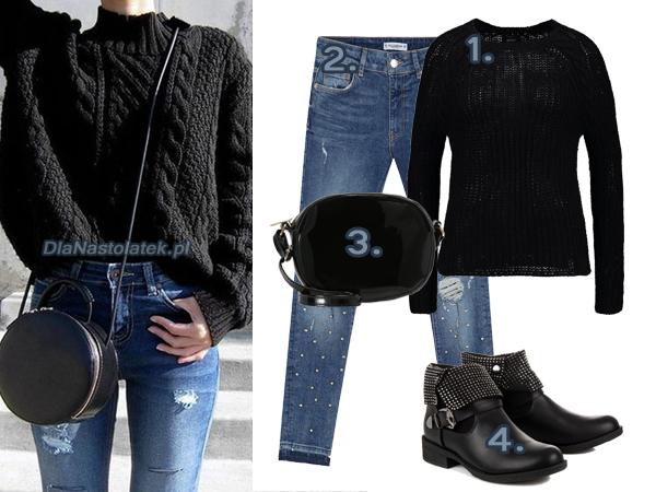 stylizacja z czarnym swetrem