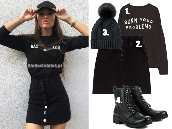 stylizacja z czarną spódnicą