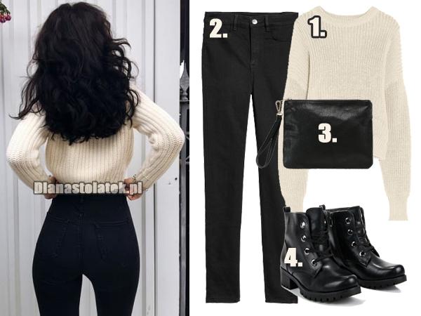 Stylizacja z czarnymi spodniami