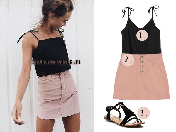 stylówka z różową spódnicą