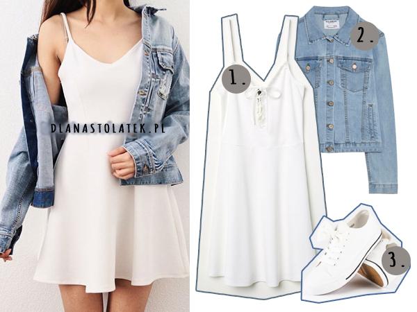 stylówka z białą sukienką