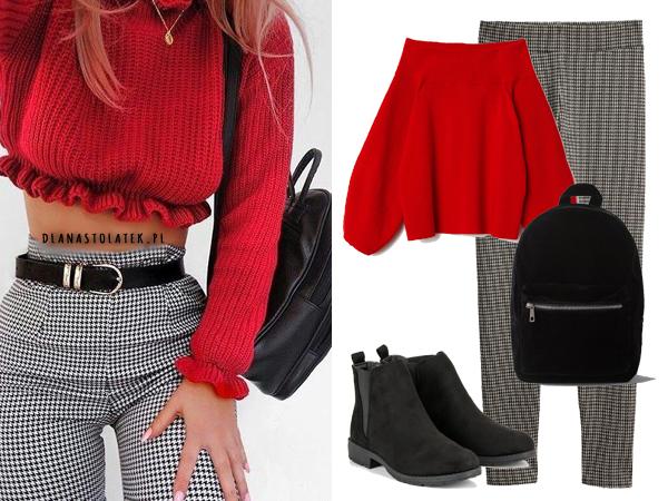 Stylizacja z czerwonym swetrem
