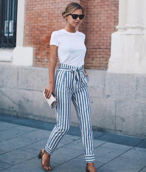 stylizacje ze spodniami w paski