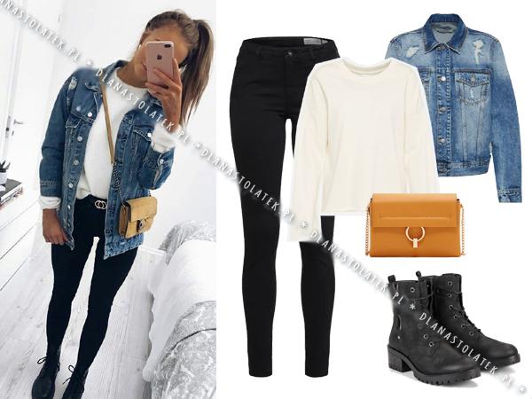 stylówka z jeansową kurtką