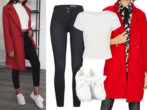 stylówka z czerwonym płaszczem