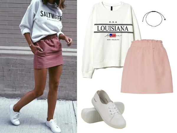 stylizacja z różową spódnicą