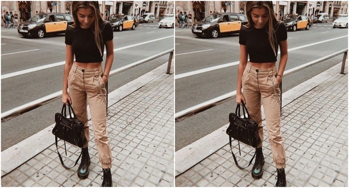 stylizacja z beżowymi spodniami
