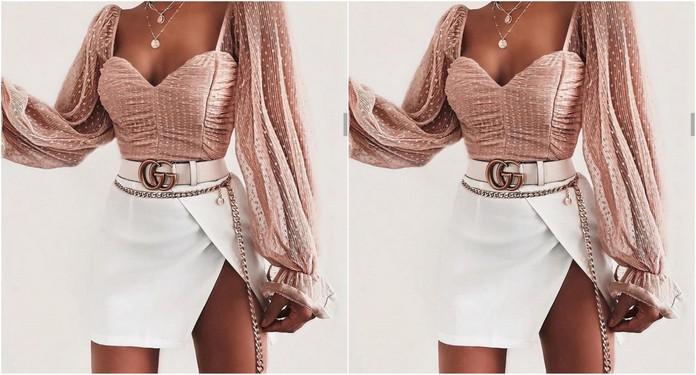 stylizacja z różową bluzką i białą spódnicą