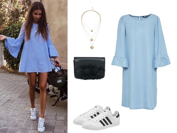 stylizacja z błękitną sukienką