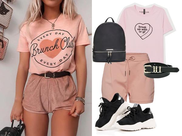 stylizacja z różowymi szortami