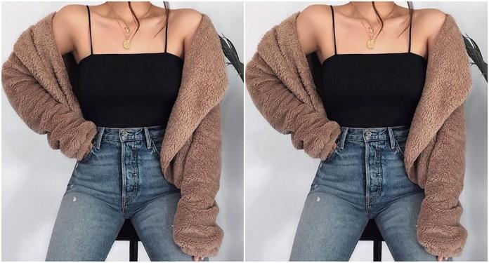 stylizacja z pluszową bluzą