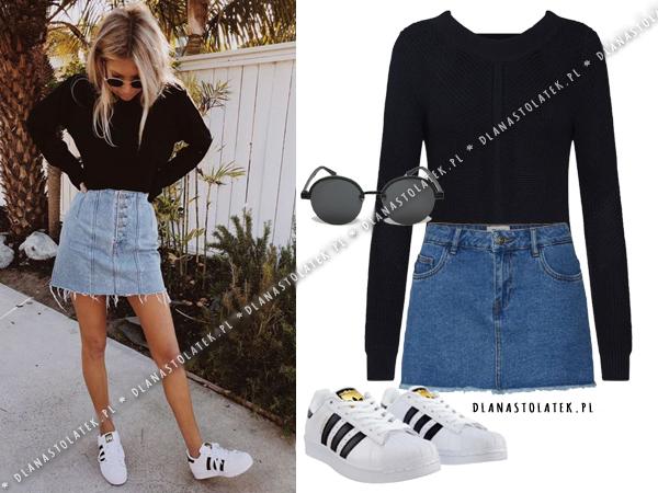 stylizacja z jeansową spódnicą