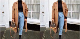 stylizacja z beżowym płaszczem