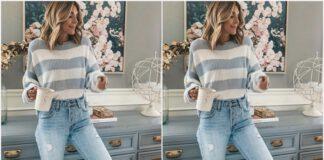 stylizacja z pasiastym swetrem