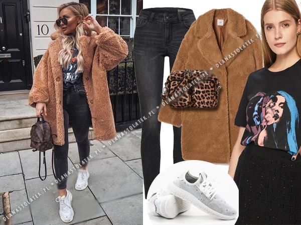 stylizacja z pluszowym płaszczem