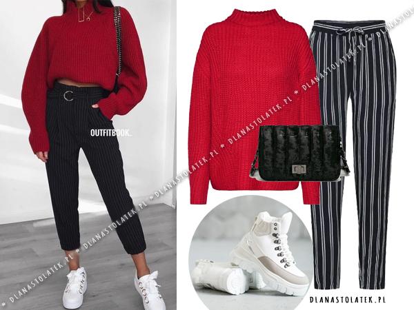 stylówka z czerwonym swetrem