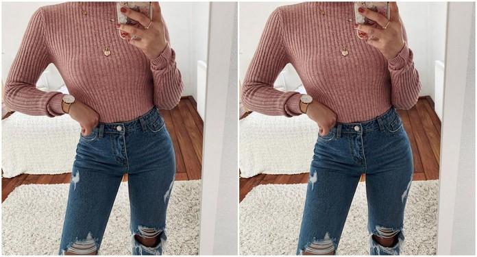 stylizacja z różowym sweterkiem