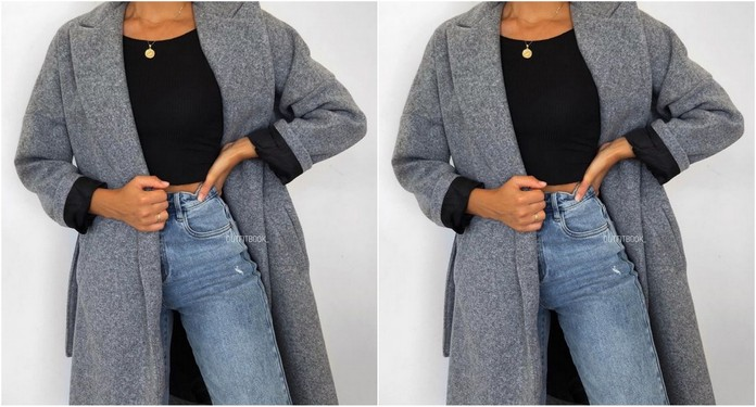 stylizacja z szarym płaszczem