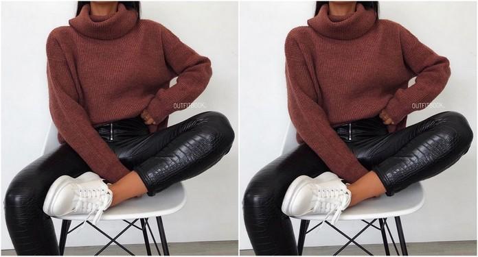 stylizacja ze skórzanymi spodniami