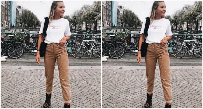 stylizacja z camelowymi spodniami