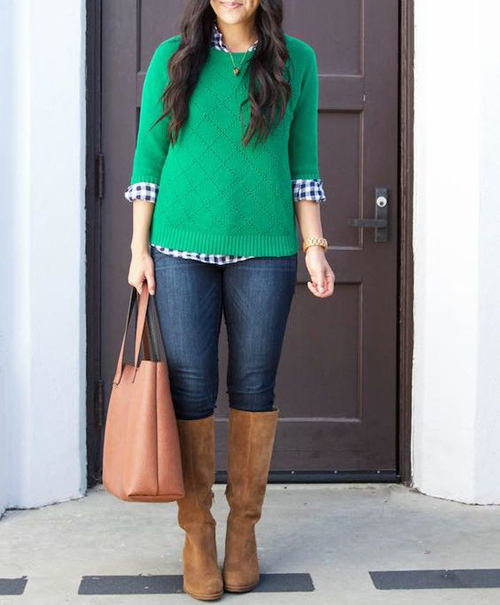stylówki z zielonym swetrem