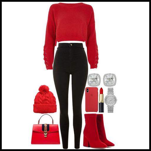 stylizacje z czerwonym swetrem