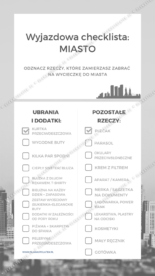 Wyjazdowa checklista_ MIASTO