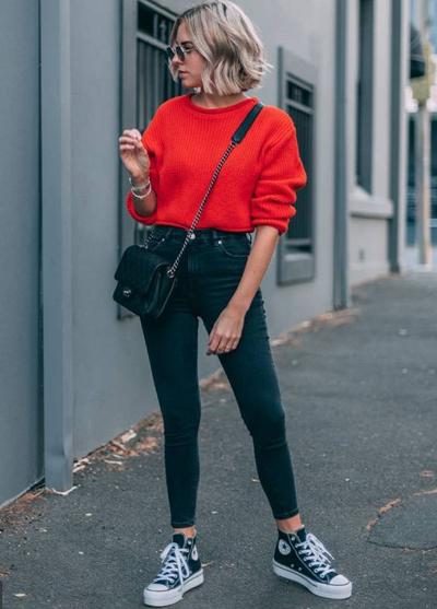 stylówki w kolorze czerwony