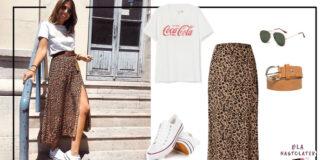 Letnia stylizacja ze spódnicą maxi
